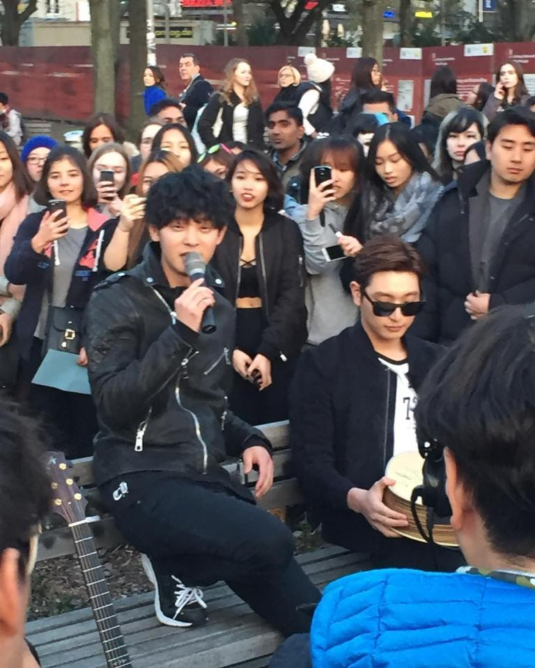 Jung Joon Young singing at HitMaker Busking Event in Berlin