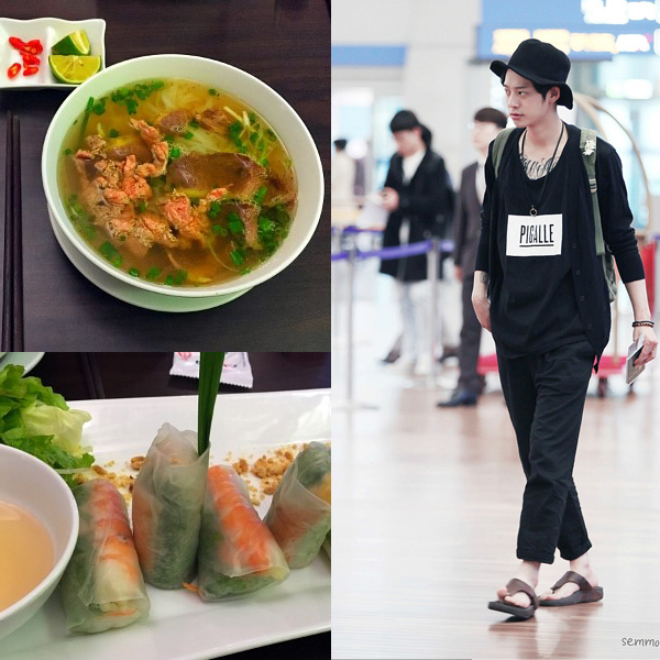 Jung Joon Young eating Pho in Vietnam while performing at Spark Concert in Hanoi
