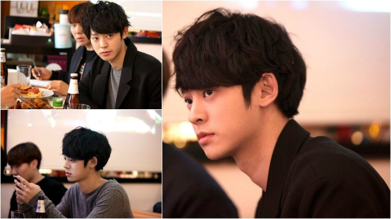 Jung Joon Young drinking in Dingo Music meeting