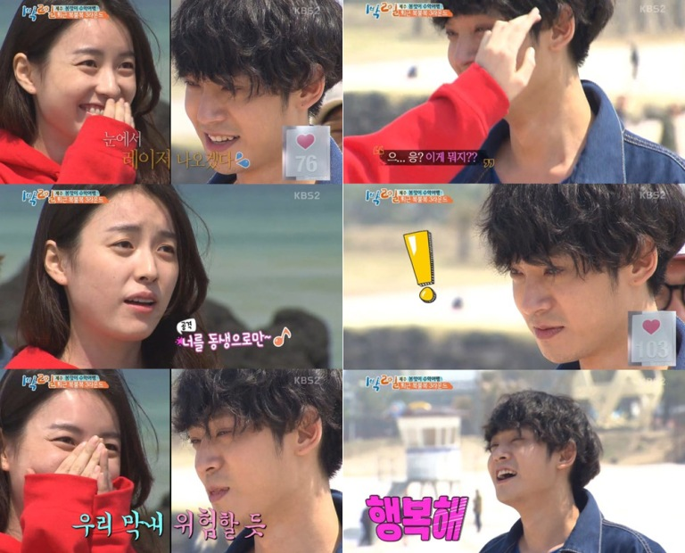 Jung Joon Young with Han Hyo Joo in Jejudo for shooting 2 Days 1 Night