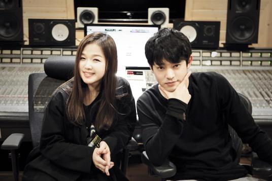 Jung Joon Young with Suh Young Eun recording Sympathy in studio