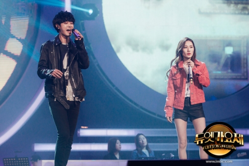 Jung Joon Young and rapper E.Luni covering Insomnia of Dynamic Duo at MBC Duet Song Festival on April 2016