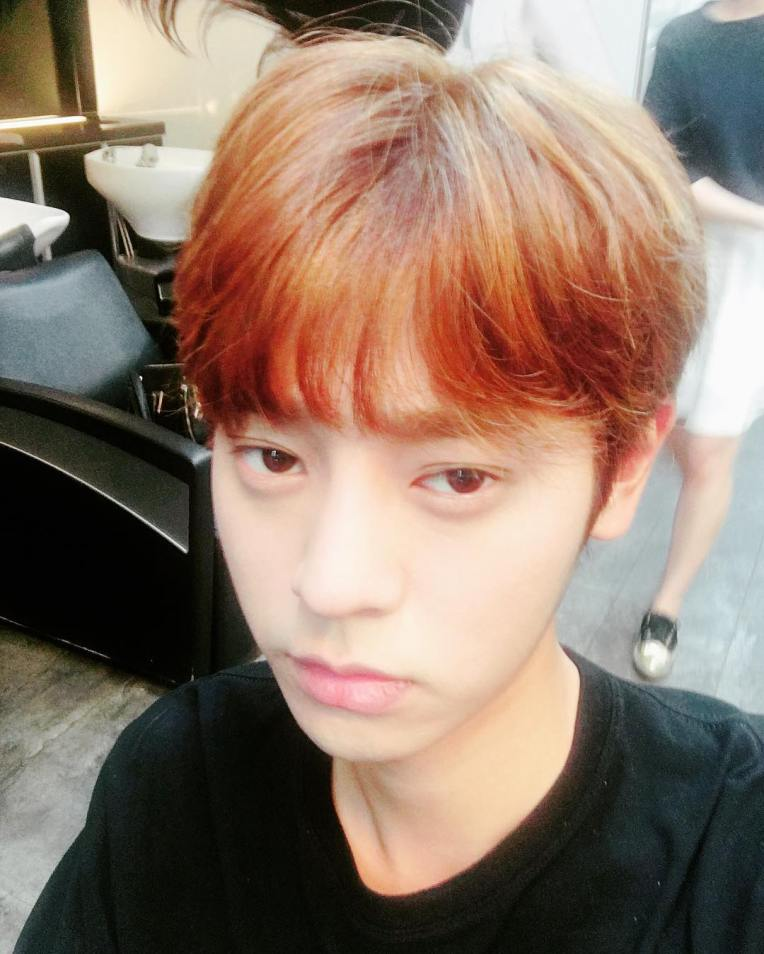 Jung Joon Young first showing his new hair color in Instagram