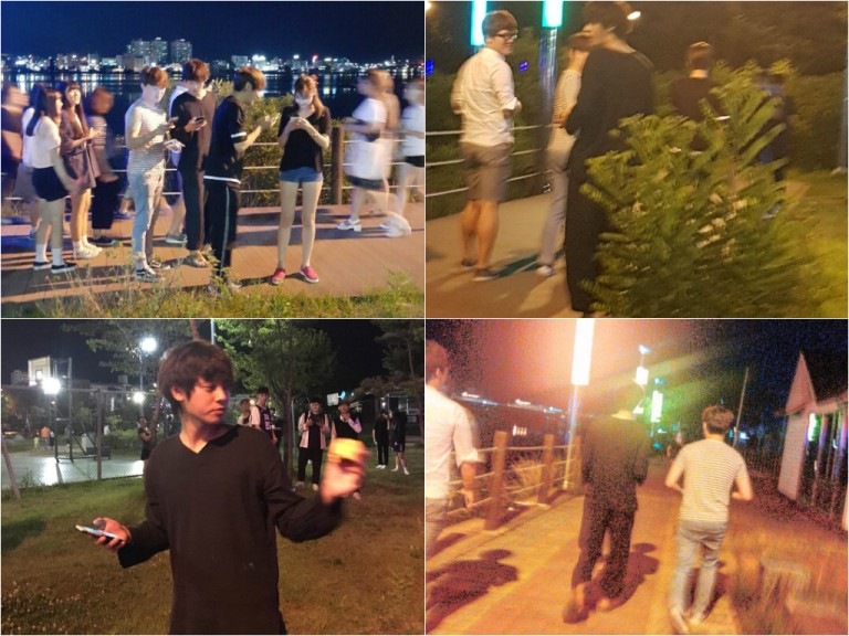 Jung Joon Young hunting Pokemon in Sokcho on July 14