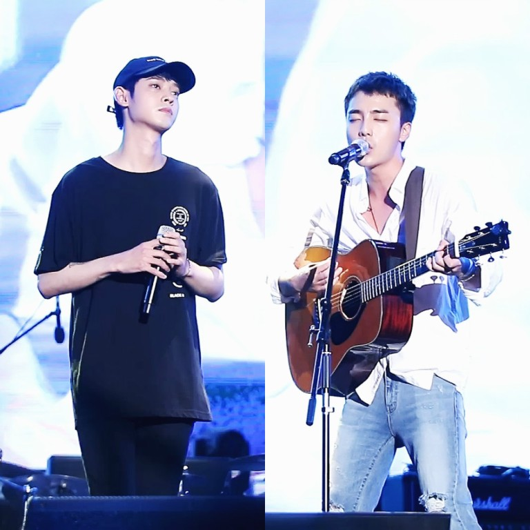 Duo Jung Joon Young + Roy Kim performing Becoming Dust at Yeosu Red Carat Music Festival on Aug 2016