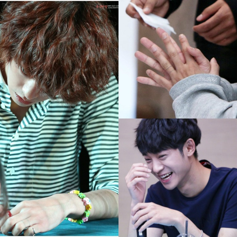 Jung Joon Young with his incomplete tattoo on the left ring finger