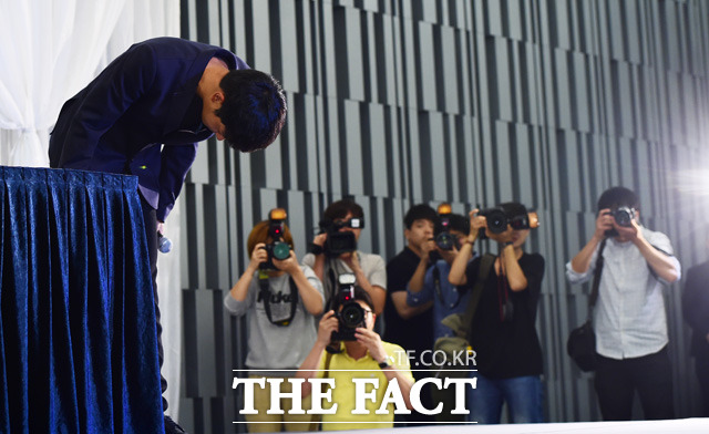 Jung Joon Young at press conference on sexual scandal on Sept 25, 2016
